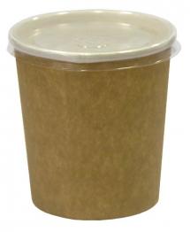 Супник 300мл. крафт с пластиковой крышкой