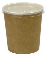 Супник 500мл. крафт с пластиковой крышкой