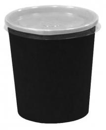 супник 300 мл. черный с пластиковой крышкой